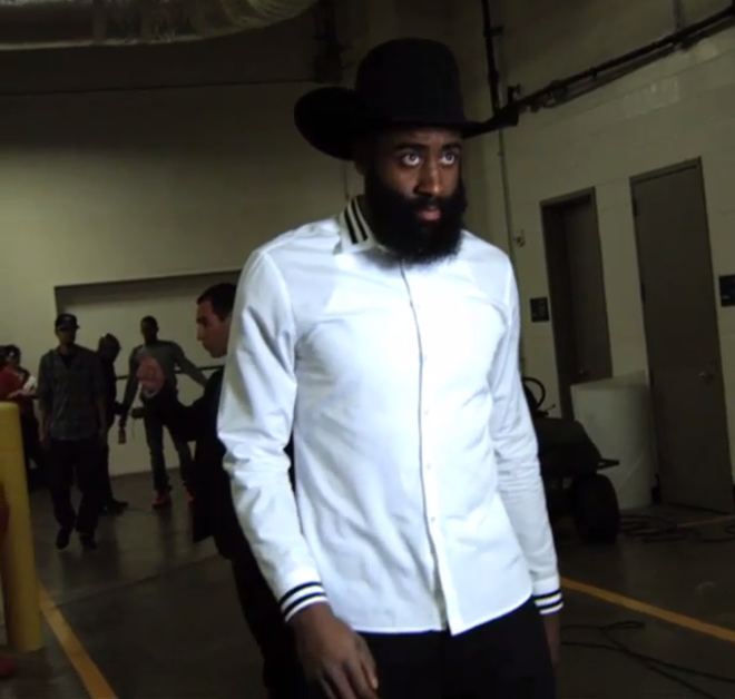 1a71c82d2529 Video  James Harden Wore A Cowboy Hat And Boots To The Arena Tonight ...